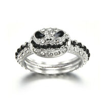 Fashion Gothic 925 Silver Gem Grimace Cute Mask Skull Ring Women Men Jewelry
