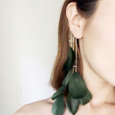 Green Natural Feather Boho Dangle Hoop Earrings NO Piercing Cuff Ear Clip Women