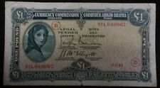1941 IRELAND 1 Pound War Code B SCARCE DATE 1-7-41 WWII Irish Banknote Currency
