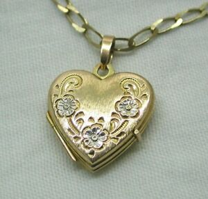 Two Colour 9 carat Gold Lovely Heart Locket And Chain