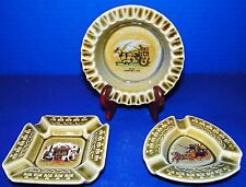 Wade Irish Porcelain 3 Ashtrays Jaunting Car Stage Coach Fireplace Shamrocks