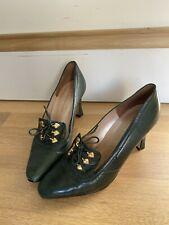 Vintage 50s 60s Green Leather Heels 7 Lace Up Shoes 1950s 7.5 7 1/2