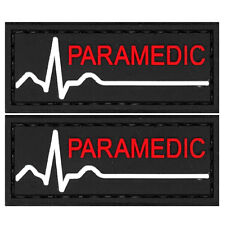2x PVC Morale Patch Paramedic Red White Black 3D Badge Hook #59 Airsoft