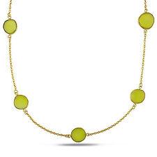 "Amour 22k Yellow Gold Overlay 42 Ct TGW Yellow Onyx Gemstone Necklace 36"""