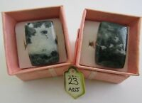 1 x WHITE MOSS AGATE ADJUSTABLE RING. (28mm x 19mm :- Choice of 2)   (23 Adj)