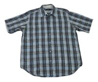 Bugatchi Uomo Mens Shirt Blue/Gray Plaid w/Floral Short Sleeve Size Large Cotton