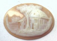 NOS Antique Hand Carved Oval Shell CAMEO Stone House & Tree Scene #N426