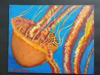 Original Acrylic Painting 8 x 10 Canvas Panel,Jelly Fish Marine Life  Beach  Art