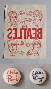Vintage - Beatles - Original - T Shirt Unused Transfer + Badges - 1960's