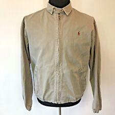 Vintage Polo Ralph Lauren Cotton Canvas Bomber Jacket size M Beige Usa made Cj8