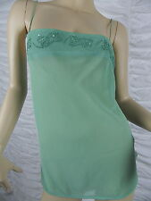 WISH green floral pattern beaded spaghetti strapped camisole top size 14 BNWT