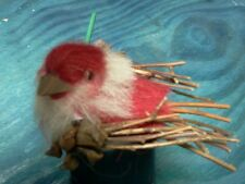 12 Red Felted birds with picks  - Christmas - Crafts - Decoration 3590