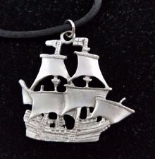 Tall Ship Pirate Pewter Silver Black Silk Cord Rope Necklace Large Pendant Charm