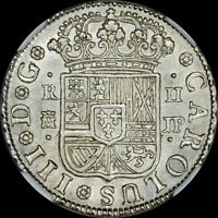 1760 M-JP SPAIN 2R REALE PISTAREEN 2ND FINEST KNOWN AT PCGS & NGC MS62 LUSTROUS