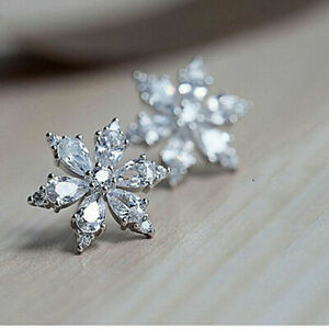 Elegant snowflake 925 Silver Stud Earrings Women White Sapphire Wedding Jewelry