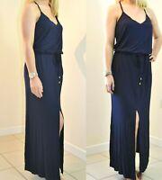 NEXT UK 12 EU 40 LADIES NAVY BLUE SPLIT FRONT MAXI DRESS