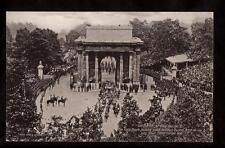 1911 coach passing under Decimus Arch coronation King George V royalty postcard