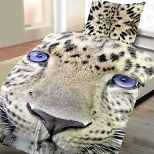 2 tlg Bettwäsche Leopard 135 x 200 cm beige Microfaser Garnitur Fotodruck