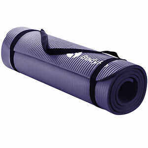 BodyRip Yoga Mat For Pilates Exercise Purple 15mm NBR Foam Carry Strap Fitness