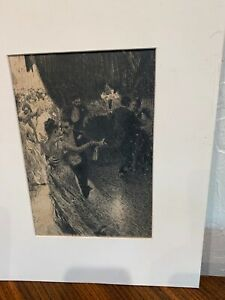 """Anders Zorn etching print """"The Waltz"""" 9""""x6"""" label to reverse sheet 14.25"""" x11"""""""