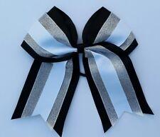 "8"" Black, silver, White, Big Cheer Bow, Softball, Cheerleading, Soccer, sports"