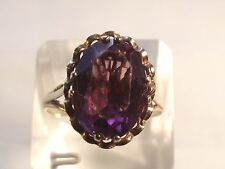 SUPERB 9CT GOLD AMETHYST SOLITAIRE RING SIZE T
