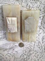 Vintage Alabaster Marble Onyx Aztec Mayan Book Ends