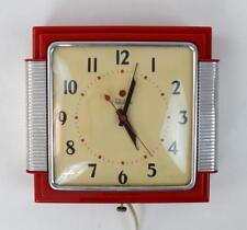 Vtg TELECHRON Mid Century Modern Red Electric Wall Clock Model 2443 Retro Works
