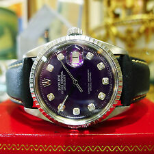 MENS ROLEX OYSTER PERPETUAL DATEJUST STAINLESS STEEL PURPLE DIAL WATCH