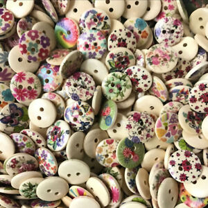 100pcs Wood Buttons Mixed Flower 15mmx15mm Scrapbooking Crafting Sewing DIY UK
