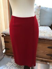 Adrienne Vittadini Red 100% Wool Straight Sweater Skirt Side Zip M Excellent
