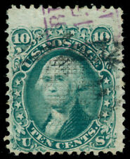 MOMEN: US STAMPS #89 E GRILL USED PURPLE FOREIGN MARKING
