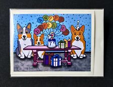 Welsh Corgi Happy Birthday Card Handmade Dog Notecard for All Ages