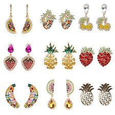 Rainbow CZ Crystal Pave Fruit Drop Earrings Pineapple Cherry Banana Watermelon