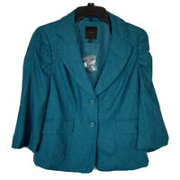 Women's Limited Wool Blend Blazer Jacket Aqua Green Medium Career Ruched Sleeves
