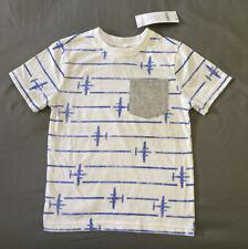 Toddler Boy Size 3T Gymboree White Striped Airplane Short Sleeve Pocket T-Shirt