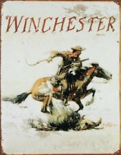 Winchester Arms Tin Metal Sign : Horse and Cowboy Logo