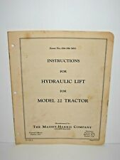 Massey Harris Hydraulic Lift For Model 22 Tractor Instructions Brochure