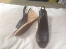 👡Women's Size 6 1/2 Brown Cork Wedge 👡 Shoes/sandals M&S  VGC