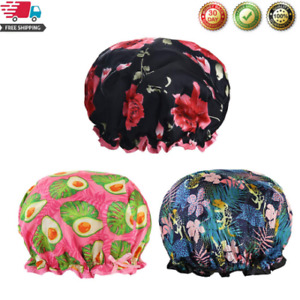 Shower Cap For Women Reusable Bath Hair Cap With Waterproof Double Layers 3 Pack