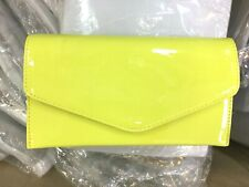 NEW YELLOW PATENT EVENING DAY CLUTCH BAG ENVELOPE WEDDING PROM CLUB PARTY