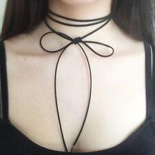 PLAIN DIY Black Faux Suede Cord String Wrap Bolo Tie Choker Necklace