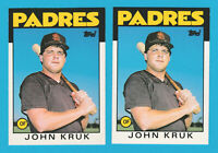 1986 TOPPS TRADED #56T JOHN KRUK RC PADRES  ROOKIE 2 CARD LOT SET BREAKS