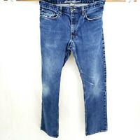 EDDIE BAUER Straight Fit 35x34 Heavy Denim Blue Jeans Dark Wash Work Pants VTG
