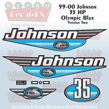 1999-00 Johnson 35 HP Ver2 Olympic Blue Outboard Reproduction 8 Pc Vinyl Decal