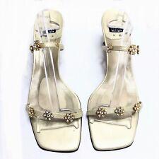 Stuart Weitzman Floral Sandals Heel Gold Swarovski Women's 9