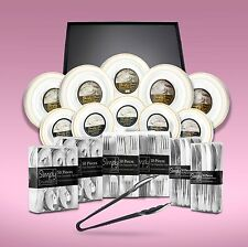 500 x Piece Disposable Dinner Set With Gold Rims + 10 Serving Platters & Tongs