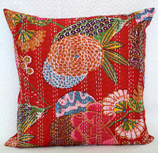 """16"""" Red Cotton Cushion Cover Indian Kantha Embroidery Throw Pillow Decor"""