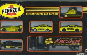 PENNZOIL DIE CAST METAL CARS GIFT SET PENNZOIL RACING SET 6 PACK OF CARS & TRUCK