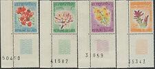 LAOS 1967  N°160/163** SERIE FLEURS ** + BORD DE FEUILLE NUMEROTE / SET MNH